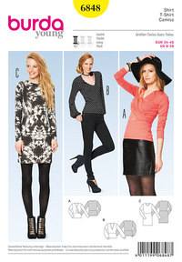 T-Shirt, Dress, form-fitting. Burda 6848.