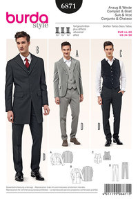 Men´s Suit and Vest, Frock Coat, single-breasted. Burda 6871.