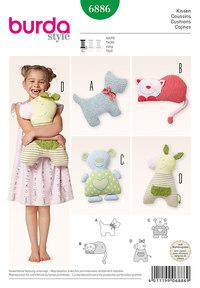 Fluffy Pillows: Dog, Cat, Bear, Little Horses. Burda 6886.
