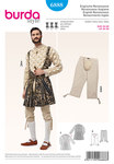 The magnificent robe consists of a jacket with inserts and sleeves from a different fabric, interfaced with white batiste which is pulled out from the many slits. The knee breeches with codpiece in the style of that age complete the look.
