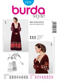 History Dress, Renaissance. Burda 7171.