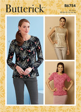 Keyhole-Closure Tops. Custom Cup Sizes. Butterick 6754.