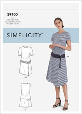 Dress With Skirt and Sleeve Variations and Belt. Simplicity 9100.