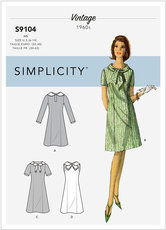 Vintage dresses with sleeve and neckline variation. vintage. Simplicity 9104.