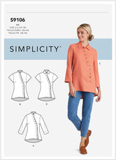Button Front Shirt. Simplicity 9106.