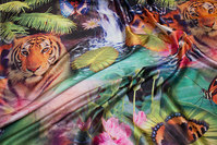 Beautiful stretch-satin with tigers and flowers