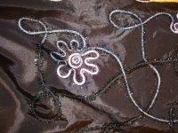 Black taffeta with embroidery