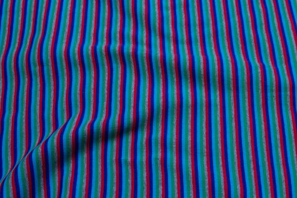 Blue-turqoise-green-grey-red rib-fabric, across-striped