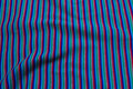 Blue-turqoise-green-grey-red rib-fabric, across-striped.