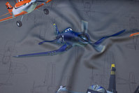 Charcoal darkening fabric with Disney planes