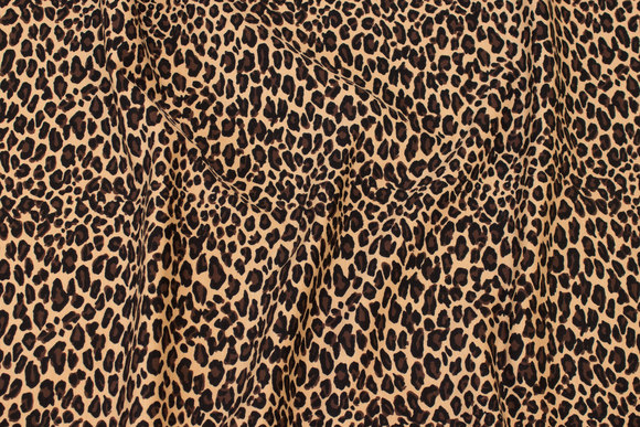 Cotton-jersey with small animal-print in brown, black, beige