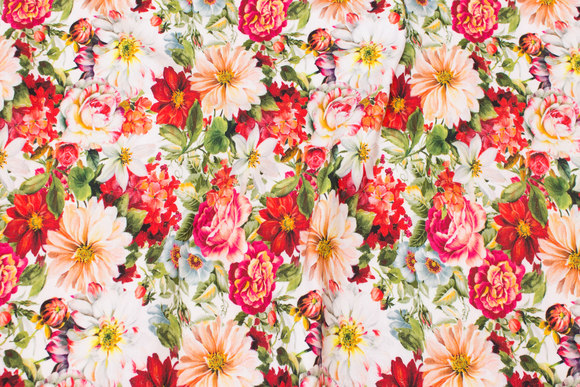Cotton-jersey with summer-flowers in red nuances