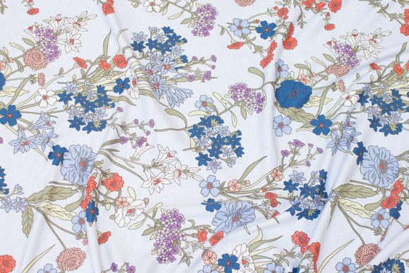 Delicate light blue viscose-jersey with flowers