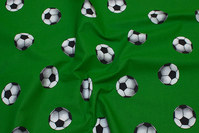 Green cotton with 5 cm footballs