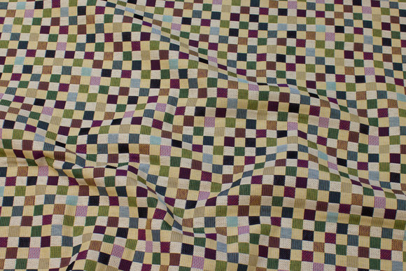 Jacquard-woven furniture fabric with blue-green-turqoise checks