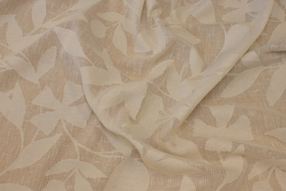 Jacquard-woven, lightweight transparent gardinstof in off-white