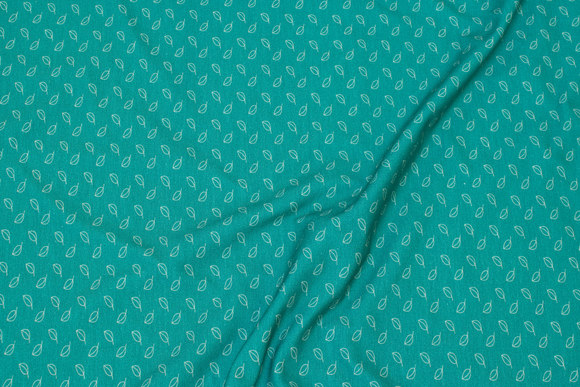 Jade-green cotton-jersey with ca. 1 cm mini-leaves