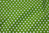Kiwi-green cotton with 1 cm white dots