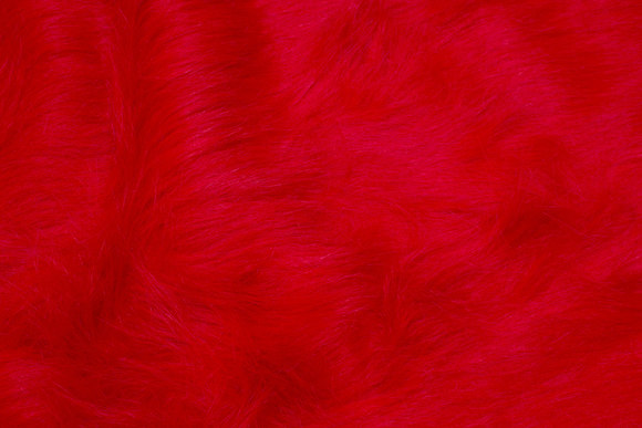Long-haired fake fur in strong red