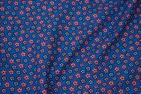 Medium-blue cotton with 1 cm flowers