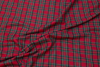 Red-green bomulds-flannel with small clan checks