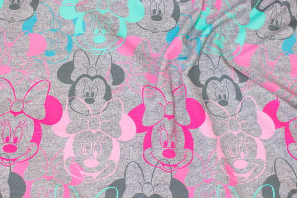 Speckled, grey jersey with Minnie heads