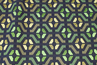 Tapestry in navy and green with graphical pattern