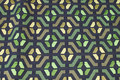 Tapestry in navy and green with graphical pattern.