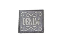 Grey denim patch 4x4cm