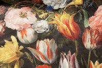 Very beautiful, black woven velvet with big flowers in digital-print.