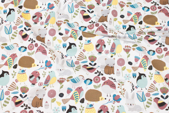 White cotton-jersey with cute forest-animals