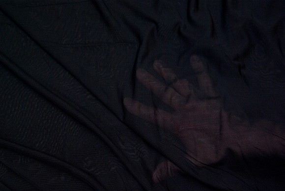 Thin, transparent, stretchable, mesh-polyester in black