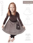 Cute circle-cut skirt with lots of swing. Comfortable waist and simple design.  Correction regarding amount of bias tape - it should be: 215 / 235 / 255 / 275 cm