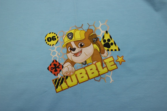 Turqoise front-piece in cotton-jersey with Paw Patrol