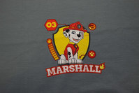 Grey front-piece in cotton-jersey with Paw Patrol, Marshall.
