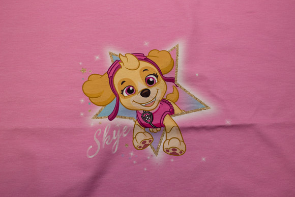 Pink front-piece in cotton-jersey with paw patrol