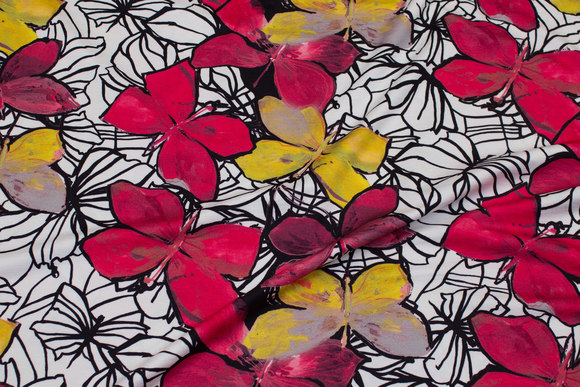 White and black viscosejersey with red and yellow butterflies
