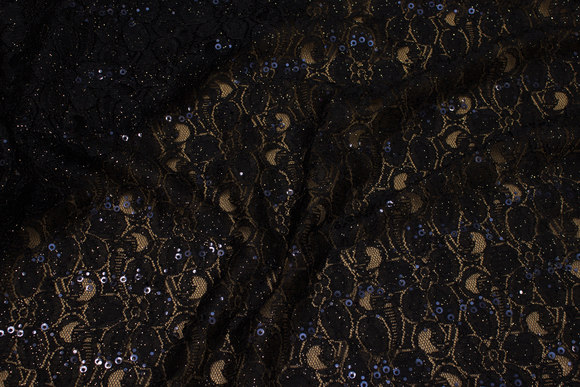 Lightweight, black lace with discrete gold-glimmer and black sequins