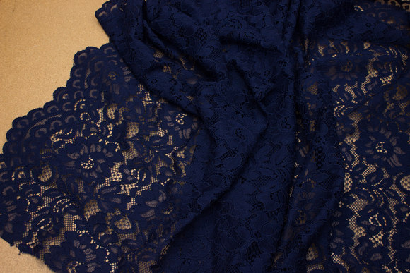 Navy dress-lace-fabric with scallops in both sides