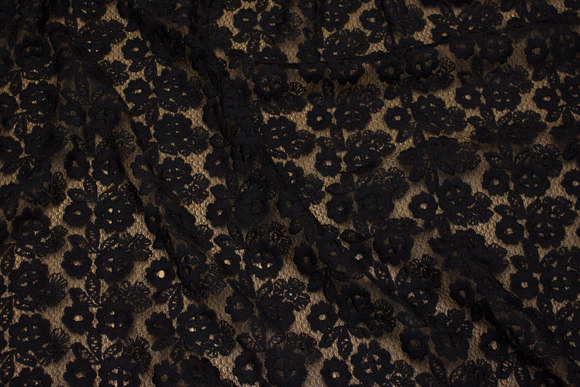 Lightweight, black lace with embroidery flower