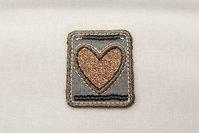 Heart patch copper 3,5x4cm.