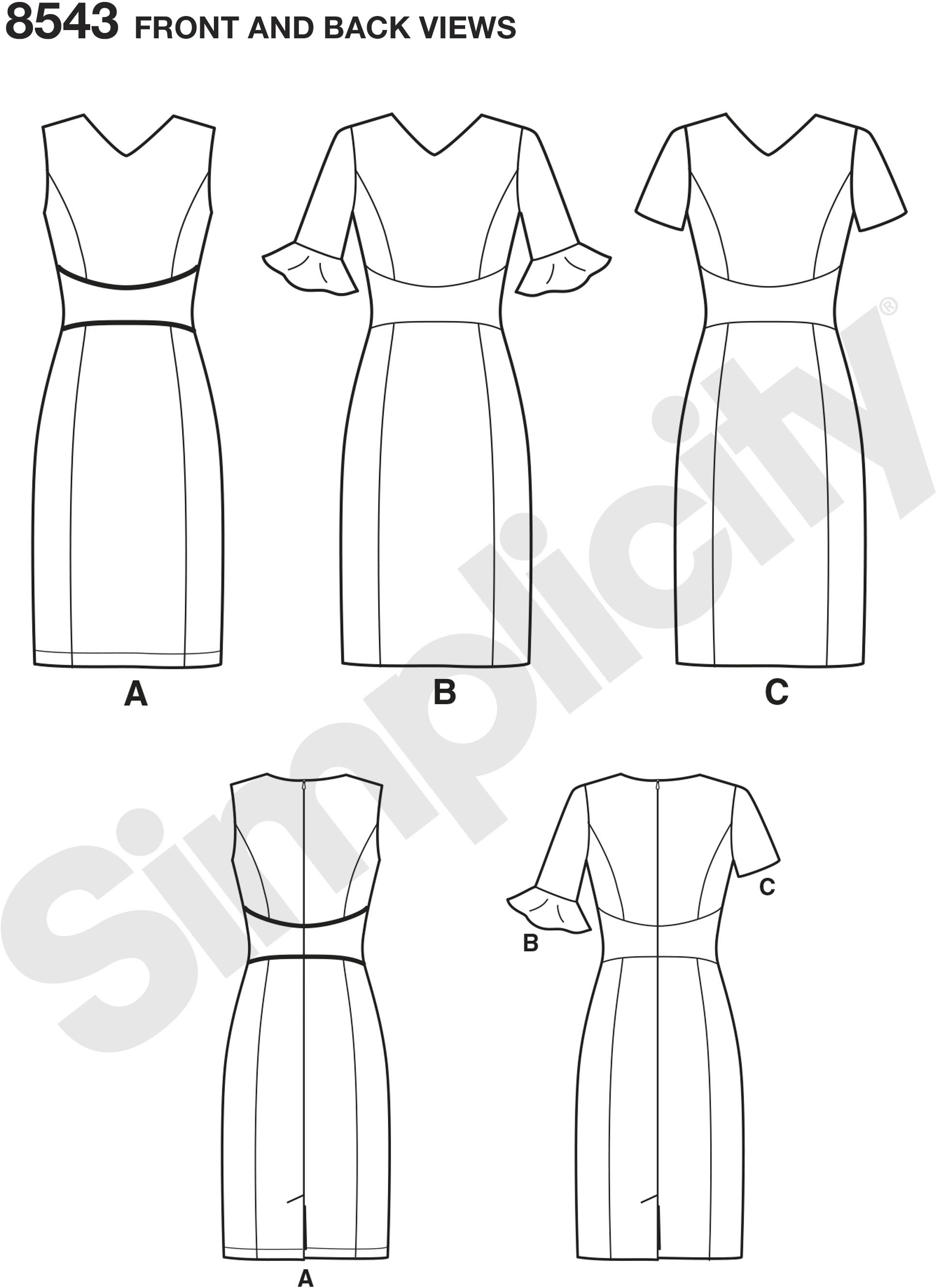 The Amazing Fit collection by Simplicity includes individual patterns for B, C, D, and DD cup sizes, and has separate patterns for a slim, average and curvy fit. With these pattern pieces and special fitting instructions you can customize this dress to your proportions.