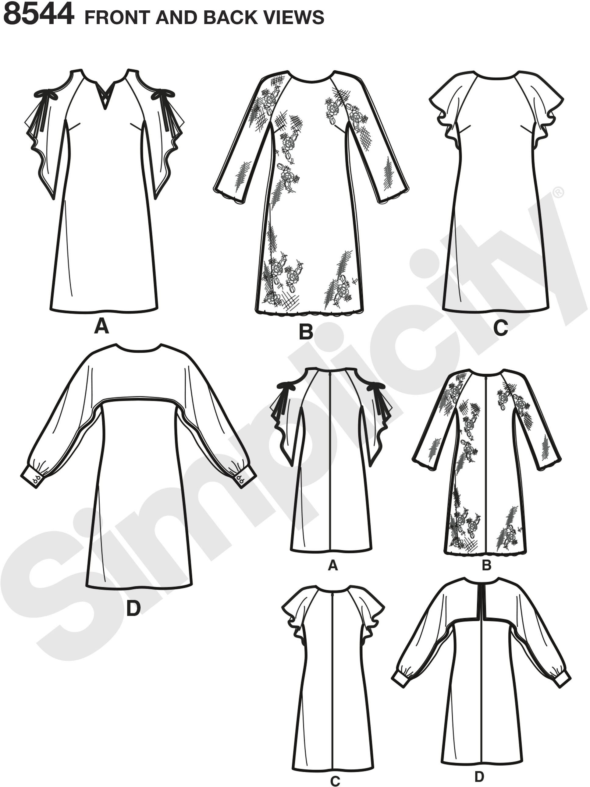 Misses and Miss nd Miss Petite dress pattern from Simplicity with neckline, sleeve and fabric variations are perfect for day or evening. Great for silky type fabrics.