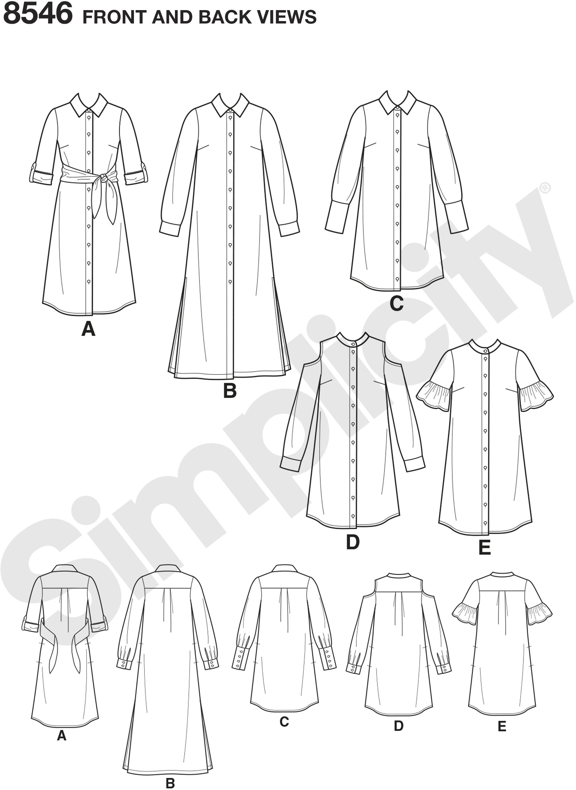 Petite shirt dress pattern has sleeve, collar, cold-shoulder and length variations with button front placket detail. Simplicity sewing pattern from the American Sewing Guild. Fit For Petite.