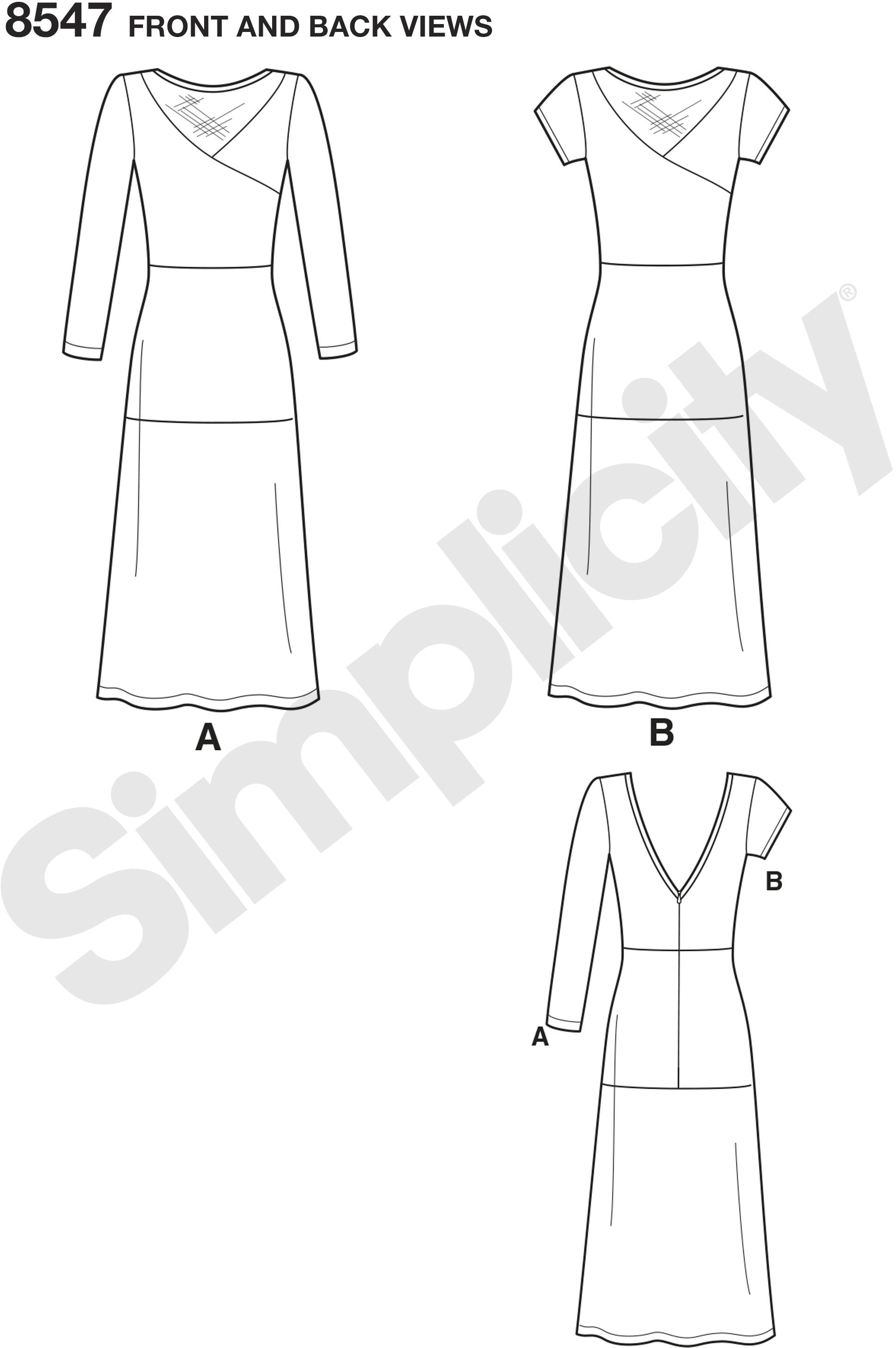 This Misses and Miss Petite knit dress pattern from Mimi G Style and Simplicity has short or long sleeves, low V-shaped back neckline, and features sheer front inserts and fabric variations.