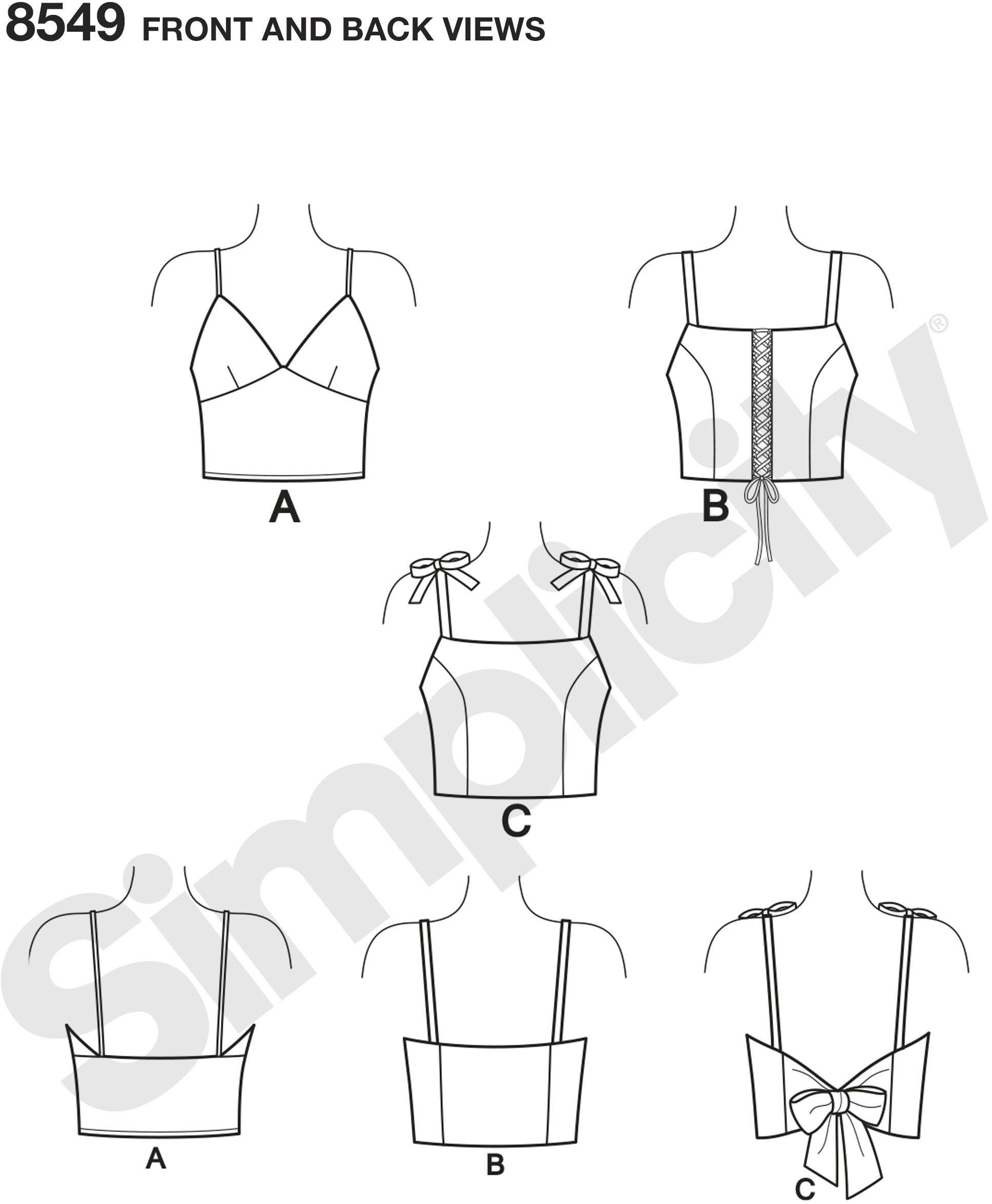 Learn to sew the trends with these knit or woven bra tops by Simplicity. Tops can be worn as a layering piece or simply as a cute crop top. With this pattern and sewing instructions, you will learn to sew a knit or woven bralette, sew with loop trim, make ties, and sew concealed elastic casings.