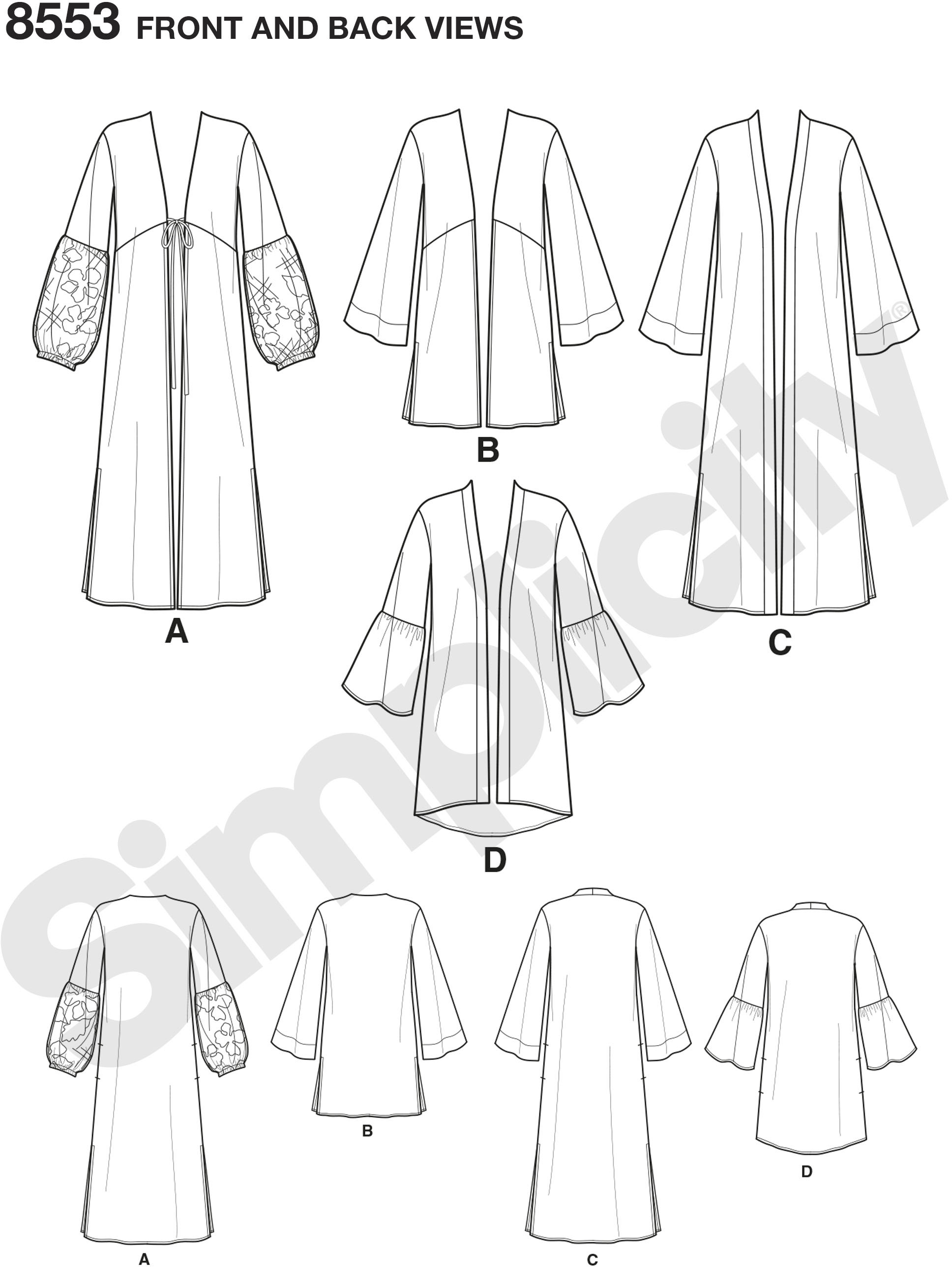 Create Misses easy-to-sew kimono or folk robe style jackets by Simplicity with sleeve and front variations. Create a statement sleeve with lace overlay view A or a ruffle view D. In a print or solid, these cover-ups are a must-have in any wardrobe.