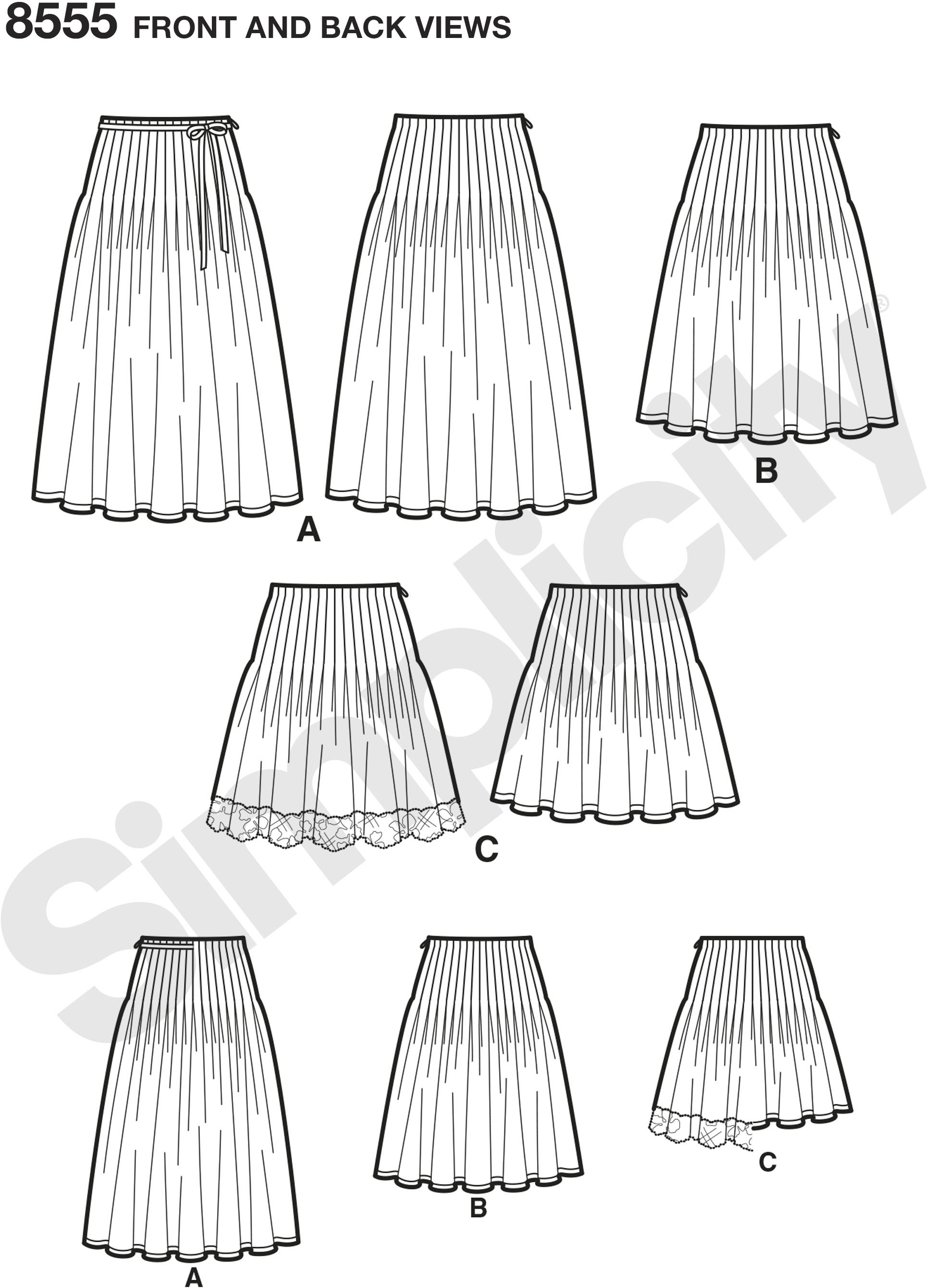 These Misses pleated skirts with length variations feature stitched soft pleats that create a fuller look. Skirt pattern pieces are cut on the crosswise grain. This pattern is suitable for border prints, eyelets, or scalloped edges.