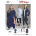 Create this coordinated set of Misses and Miss Petite easy-to-sew wardrobe essentials. Pattern features knit cropped pants, dress or tunic, and duster.