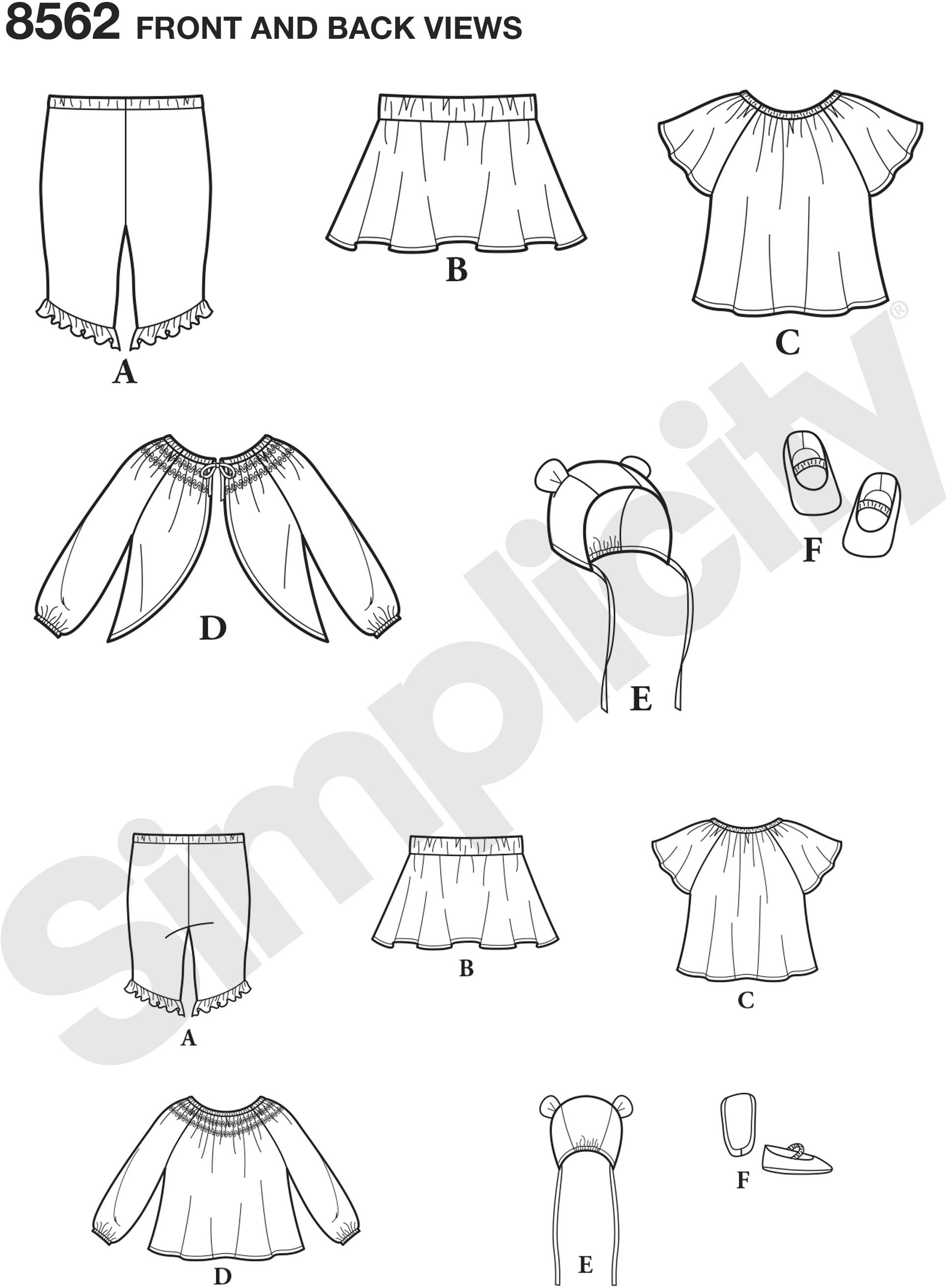 Baby Gear patterns by Simplicity give you the essentials in one package! Includes a jacket, top, skirt, capri leggings, bonnet in three sizes, and shoes in four sizes. Build your baby the best wardrobe using these fun and updated pieces.